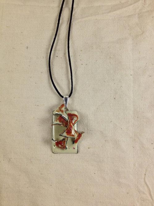 pendentif rectangle et arabesques en relief ivoire paprika-émaux-artisanat