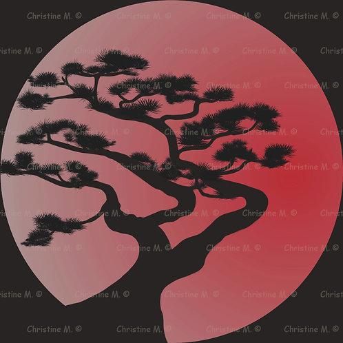 bonzaï stylisé sur fond de soleil levant rouge-Tableau à imprimer-art numérique