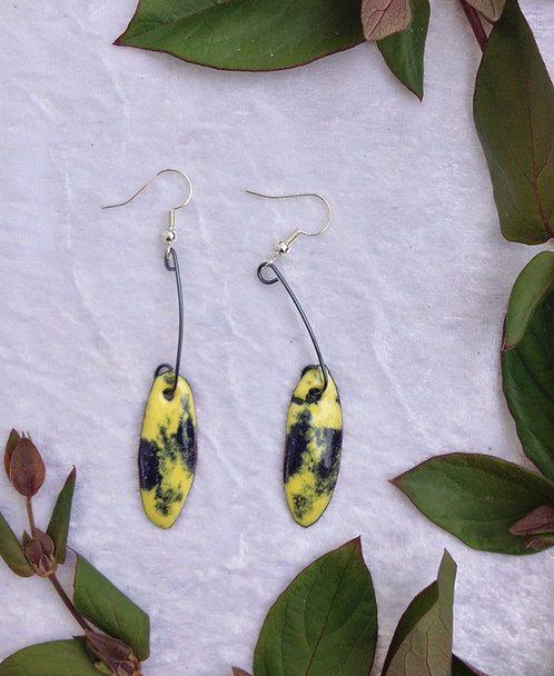 Boucles d'oreilles ellipse-ovale-tige métal-émaux-artisanat français