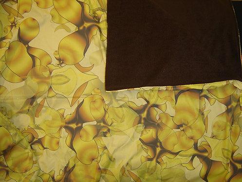 Plaid  imprimé elfes jaune marron-doublé polaire-plutine-artisanat français