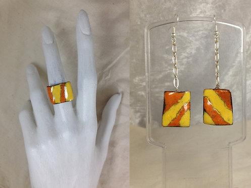 Parure bague et boucle d'oreille-rectangle-orange-jaune-artisanat français-émaux