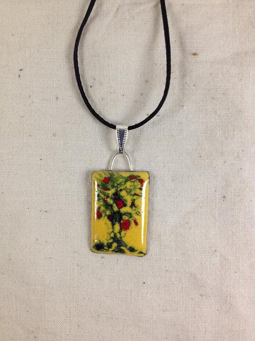 pendentif rectangle motif abstrait jaune rouge vert-émaux-artisanat français