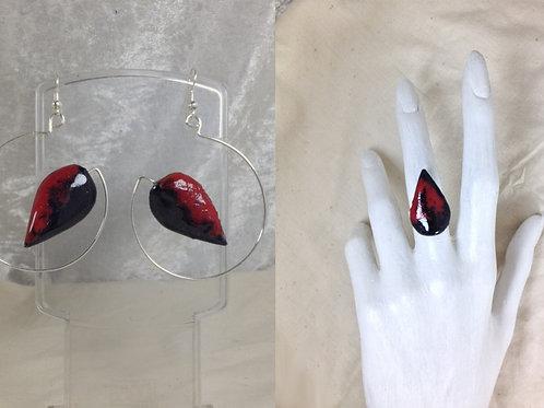 Parure boucles d'oreille-bague-ovale-émaillé rouge noir-artisanat français
