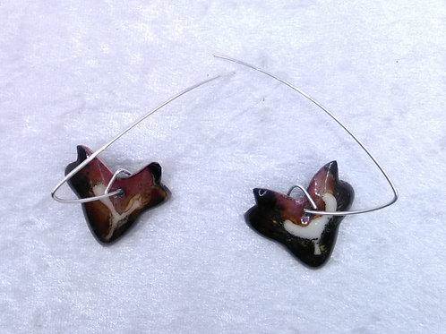 Boucles d'oreilles feuille de lierre marron ivoire-émaux-artisanat français