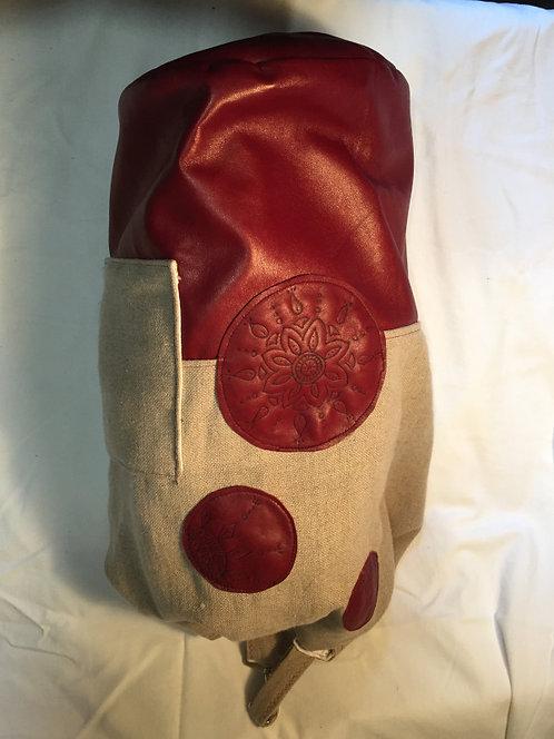 sac marin lin et cuir rouge-avec poche et lanière-artisanat français