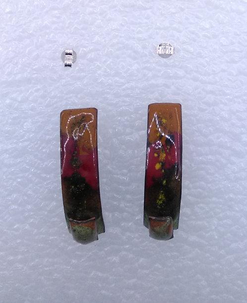 Clous, puces, poussettes d'oreilles barres courbées-cuivre émaillé