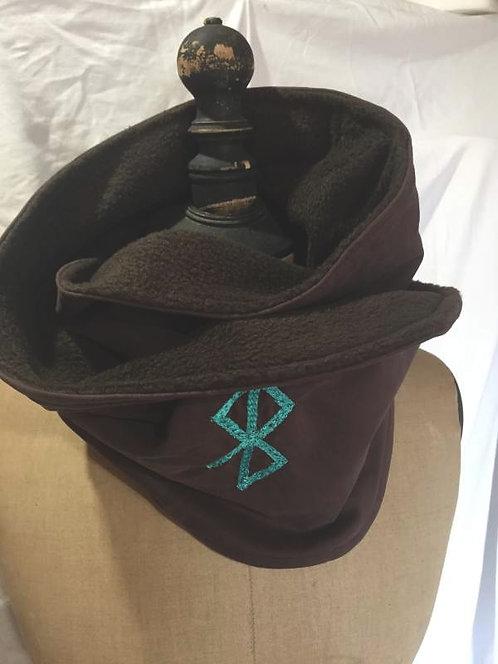 écharpe tour de cou noir-symbole de paix brodé-confection artisanale