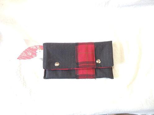 Petite pochette à rabat en tissu doublé et bande à motifs écossais-artisanat