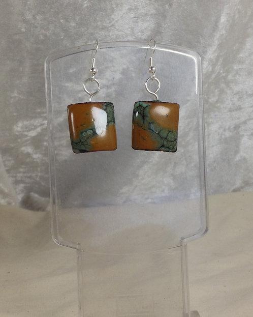 Boucles d'oreilles carré vert et marron-émaux-artisanat français