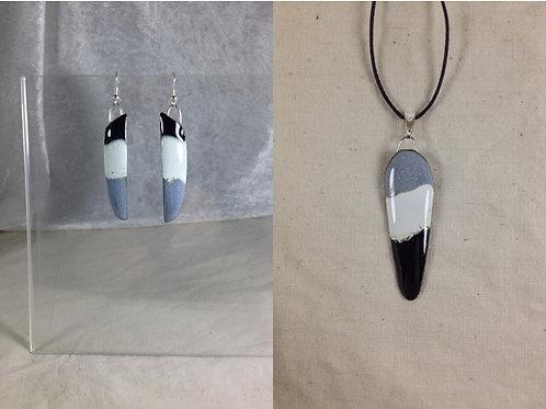 Parure boucles d'oreilles et pendentif gris noir blanc-artisanat français-émaux