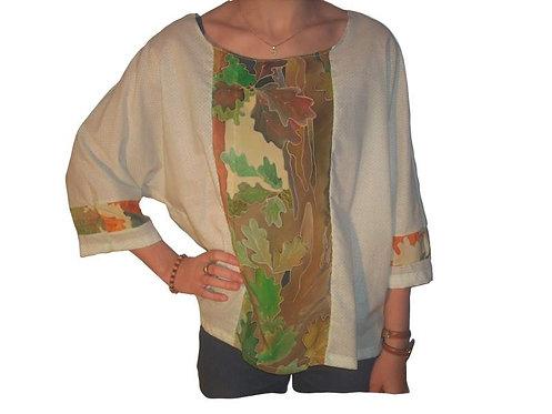 blouse printanière à empiècement et col rond-confection artisanale-vue de devant