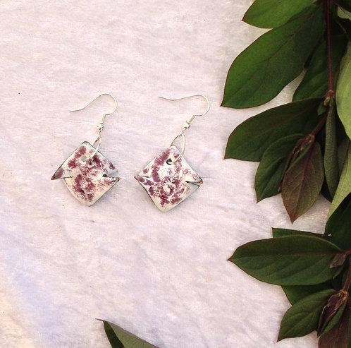 Boucles d'oreilles carré rose blanc-émaux-artisanat français