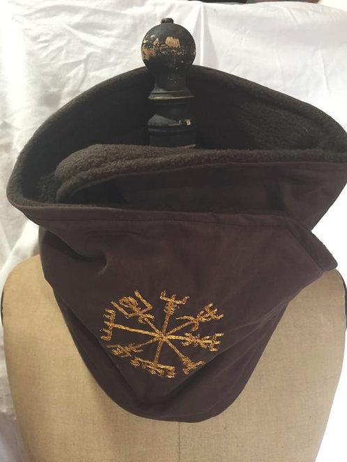 écharpe tour de cou marron symbole runique jaune -confection artisanale