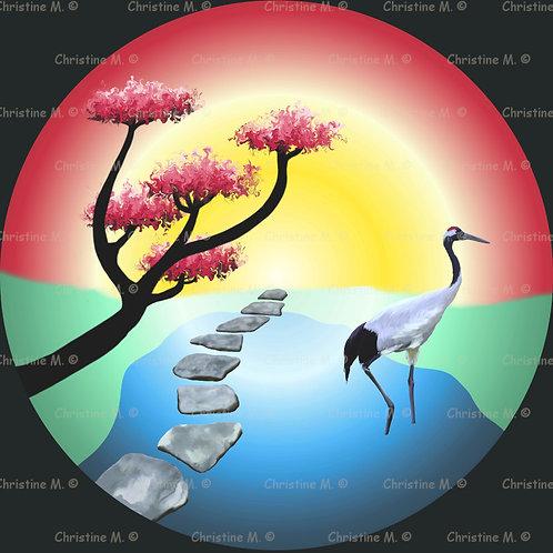 Jardin japonais-Tableau à imprimer-art numérique