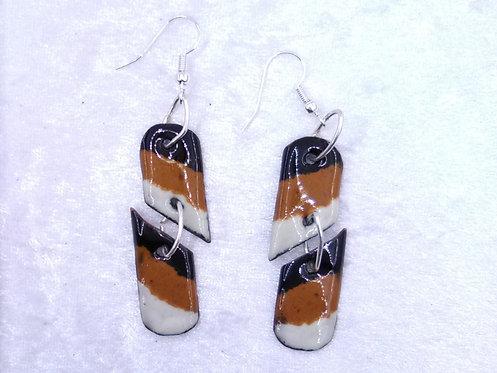 Boucles d'oreilles rectangle brisé et anneaux métal - émaux sur cuivre