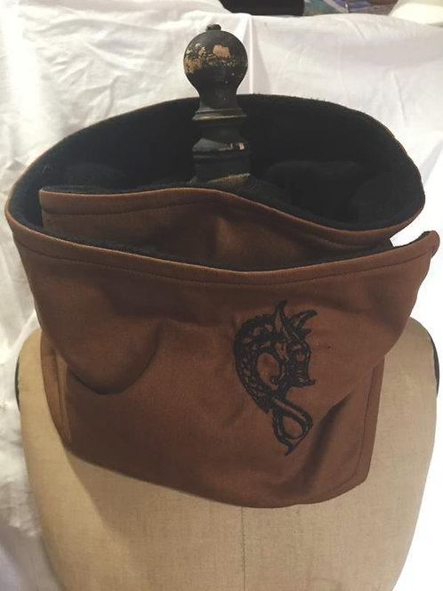 écharpe tour de cou marron clair-motif brodé dragon noir-confection artisanale