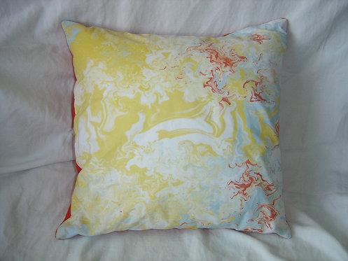 Coussin carré motifs abstraits jaune rouge blanc bleu-déhoussable-artisanat français-recto