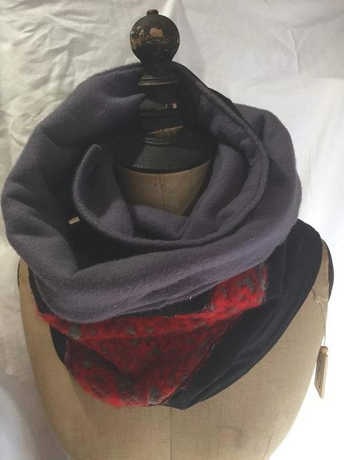 Écharpe tour de cou noir, gris, motif rouge-confection artisanale