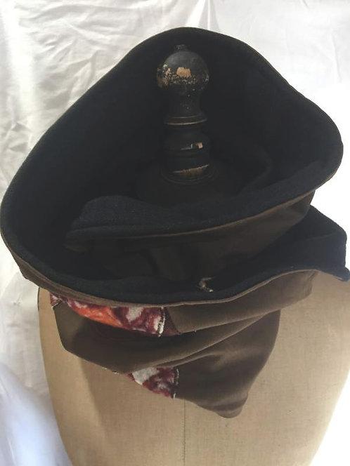 écharpe tour de cou marron motifs marron orange blanc-confection artisanale