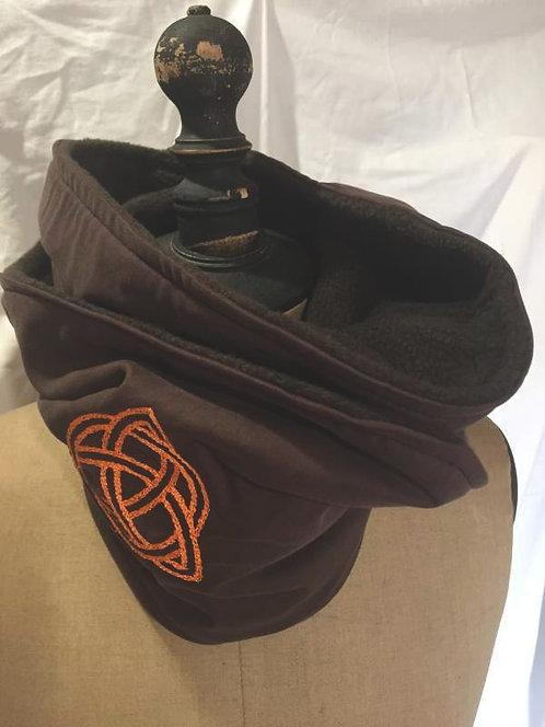 écharpe tour de cou marron symbole runique de protection-confection artisanale