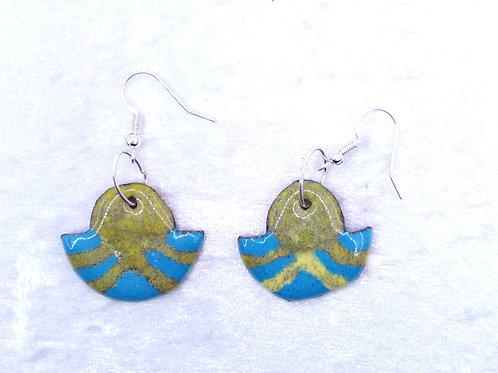 Boucles d'oreilles inspiration égyptienne- émaux sur cuivre-création artisanale