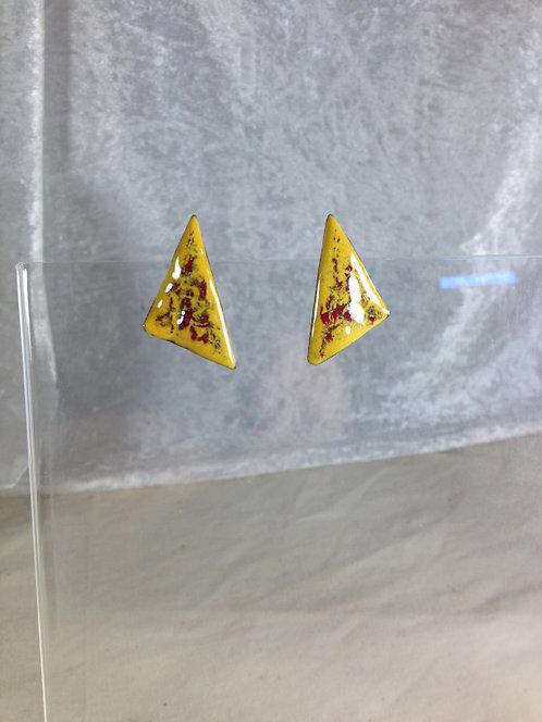boucles d'oreilles puce-triangle rouge jaune-émaux-artisanat français
