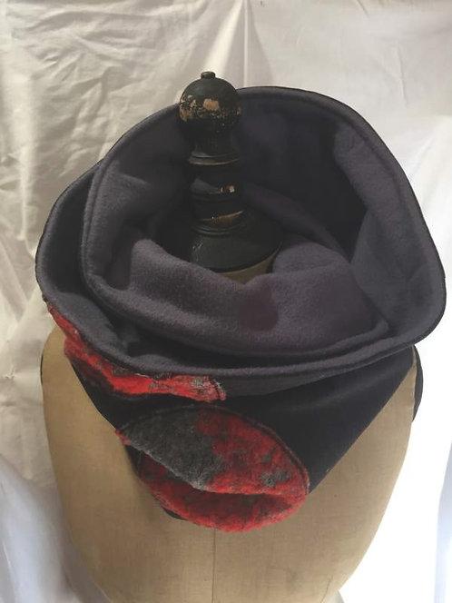 écharpe tour de cou noir motifs rouge confection artisanale