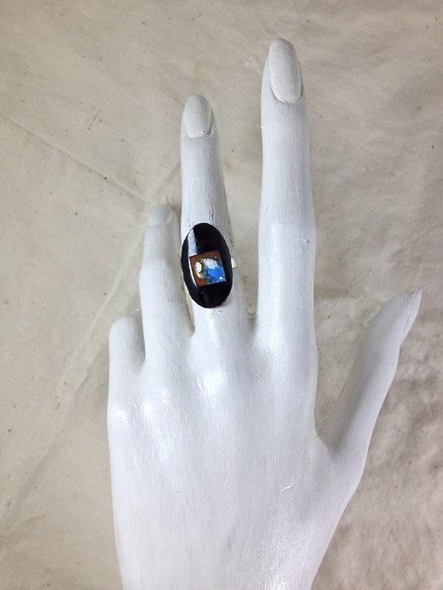 bague ajustable-ovale et carré-noir marron bleu blanc-émaux-artisanat français-présentation
