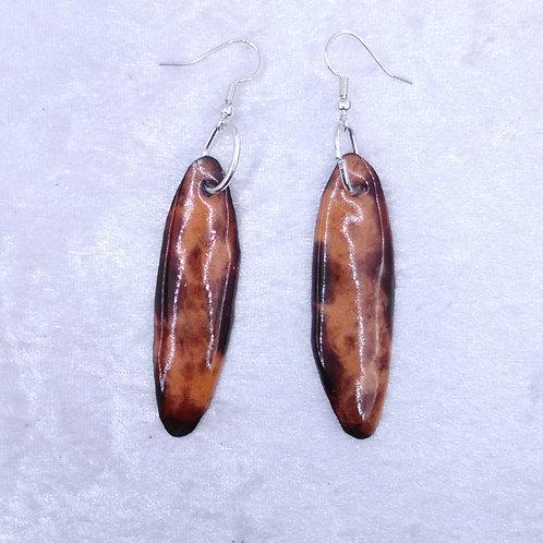 boucles d'oreilles ovales longues-émaux-artisanat français