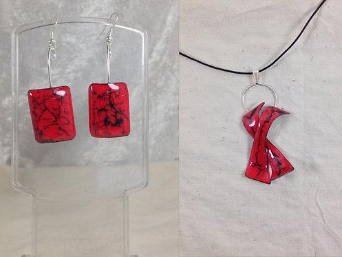 Parure boucles d'oreille carré-pendentif arabesque rouge noir-artisanat français