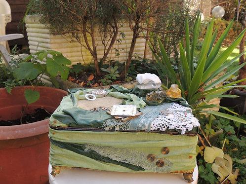 boite à bijoux verte-matières multiples-création  esprit nomade-vue1