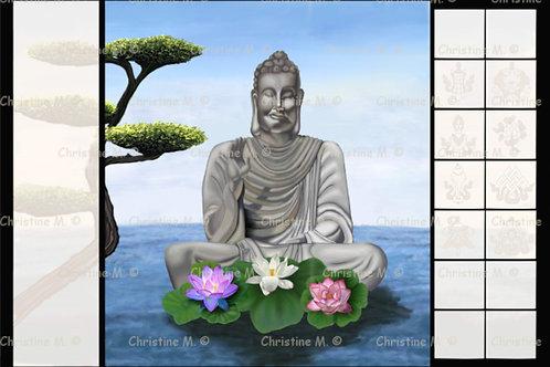 Bouddha en lévitation-Tableau à imprimer-art numérique