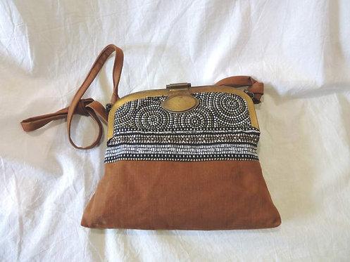 sac à main en tissu uni et rayures - fermoir métal-création artisanale