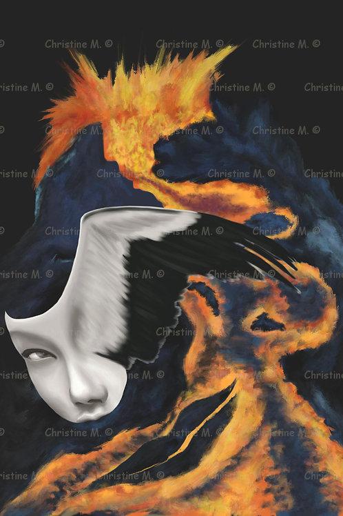 Visage de femme oiseau au-dessus d'un volcan -tableau à imprimer-art numérique