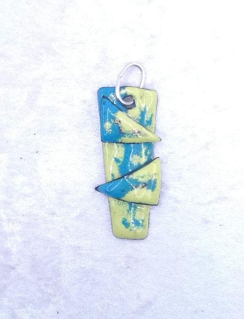 pendentif trapèze et triangles en cuivre émaillé bleu jaune-artisanat français