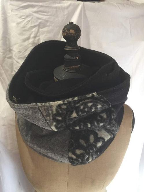 écharpe-tour de cou-noir-gris-blanc-confection artisanale-geometrik2