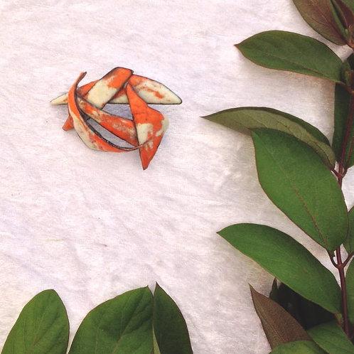 Broche en émaux sur cuivre, fleur stylisée- création artisanale