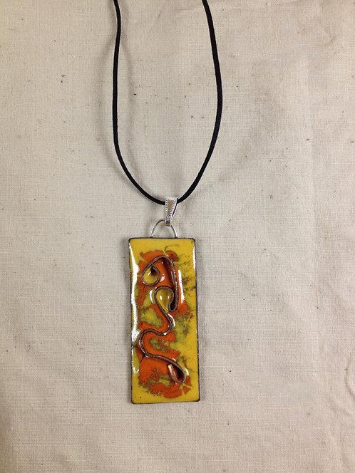 pendentif rectangle orange jaune cloisonné-émaux-artisanat français
