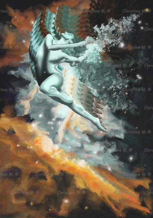 Saut d'une femme dans une nébuleuse-décoration murale à imprimer-art digital