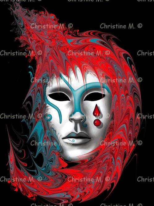 masque de carnaval rouge bleu-tableau à imprimer-art numérique