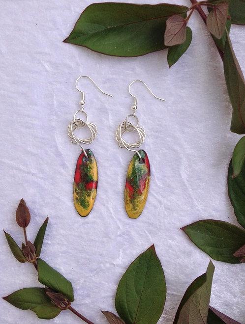 Boucles d'oreilles ellipse-ovale-multicolore-tige métal-émaux-artisanat français
