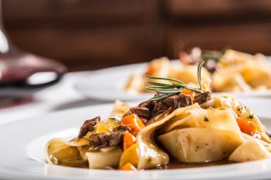 Idalian pasta pappardelle with beef rago