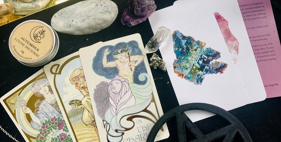 Crystal energy oracle + tarot reading