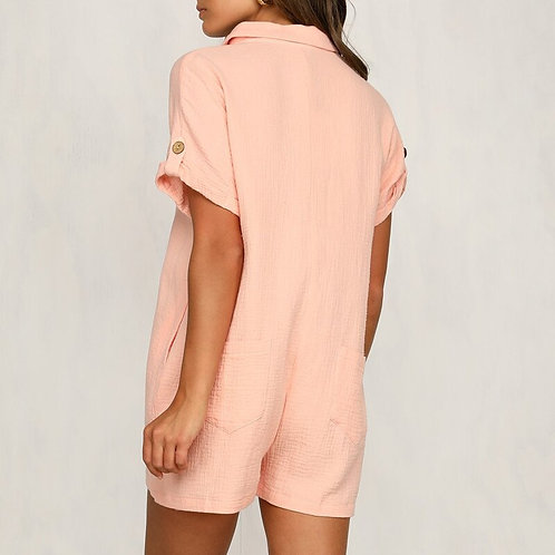 Casual Buttoned Shorts Playsuit
