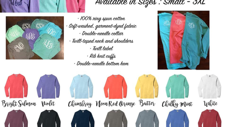 Comfort color long sleeve T-shirts