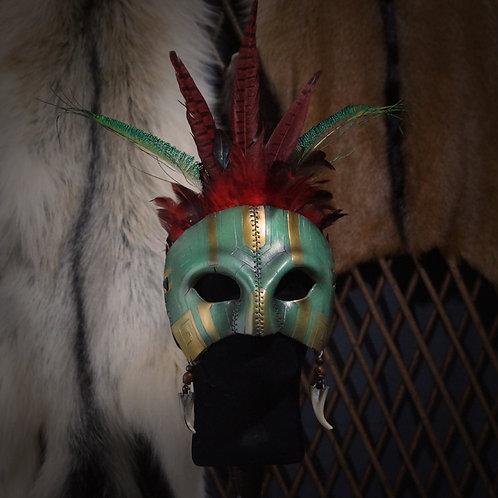 =Masque Aztèque à plumes - jade=