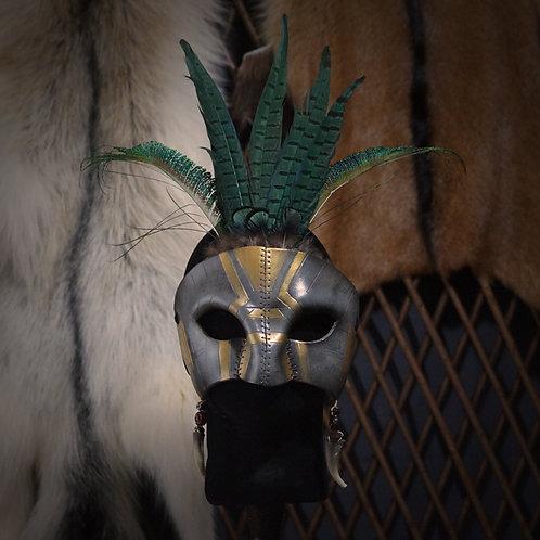 =Masque Aztèque à plumes - pierre=