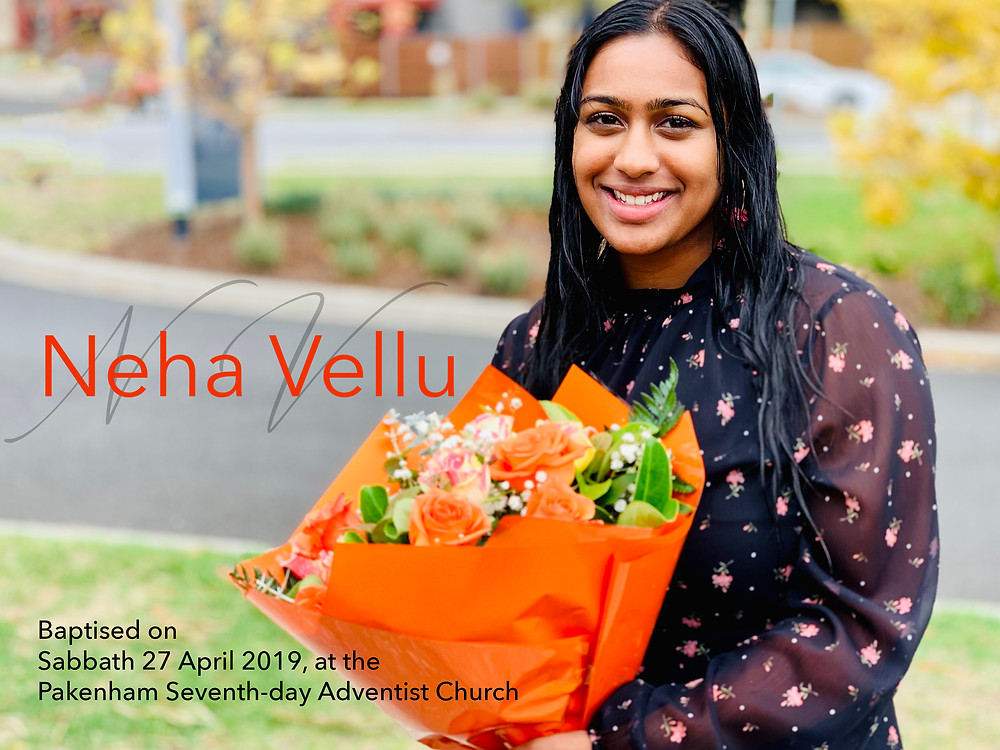 Neha Vellu's Baptism @ Lakeside Community Seventh-day Adventist Church in Pakenham, Victoria, Australia.