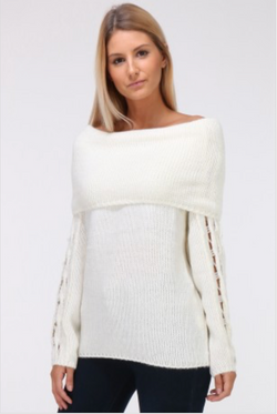 pull blanc grosse maille face