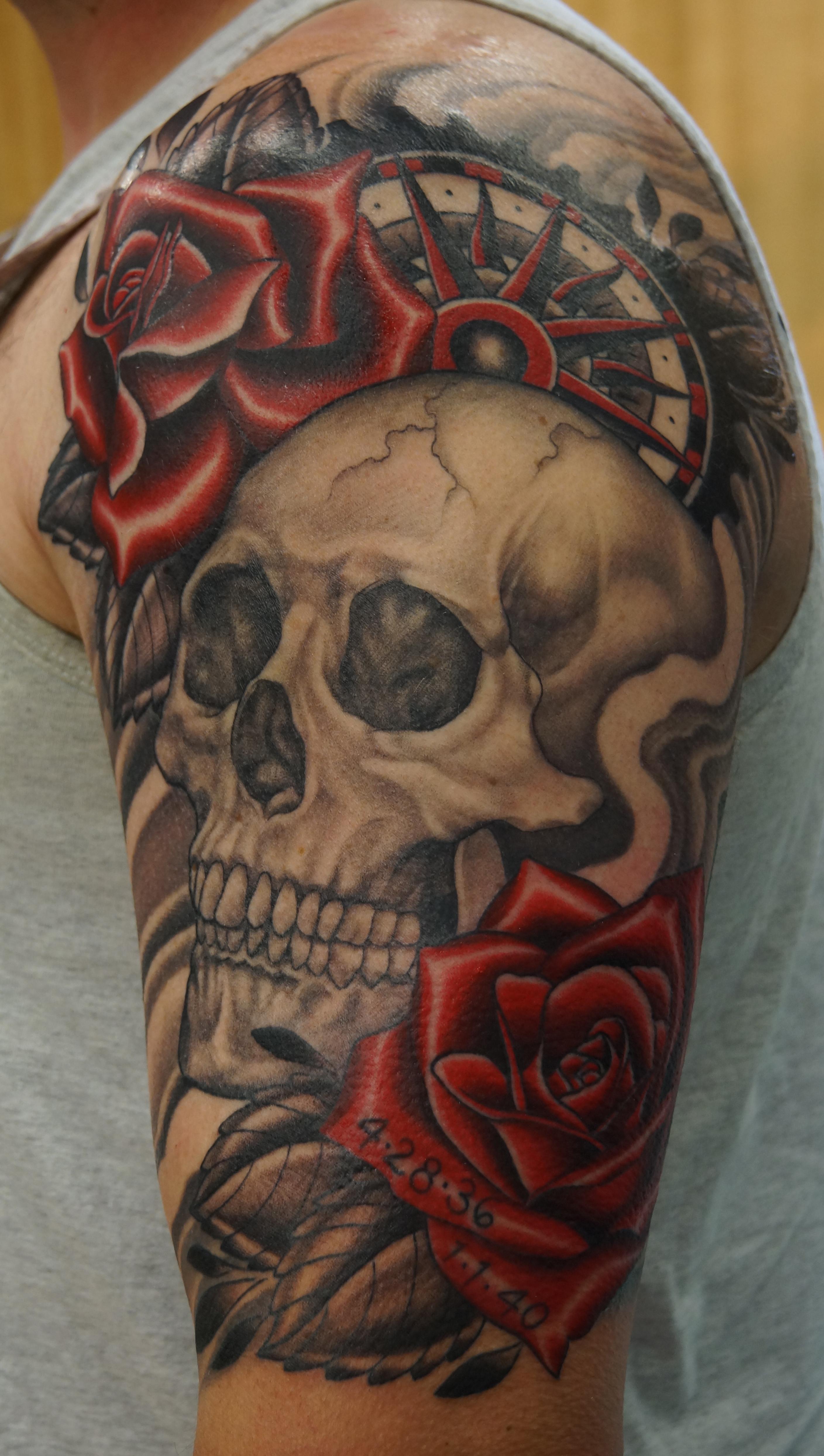 Skull, Roses, Compass